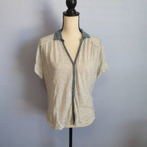 Lucky Brand Striped Button Down Tee Size Small